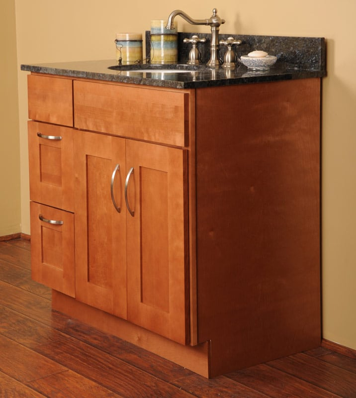 Wall mount vs free standing vanities the bathroom for Stand up bathroom cabinet