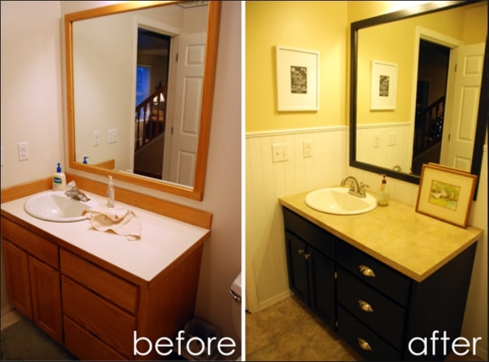 Bathroom Cabinet Remodel easy, do-it -yourself ways to salvage/update existing cabinets