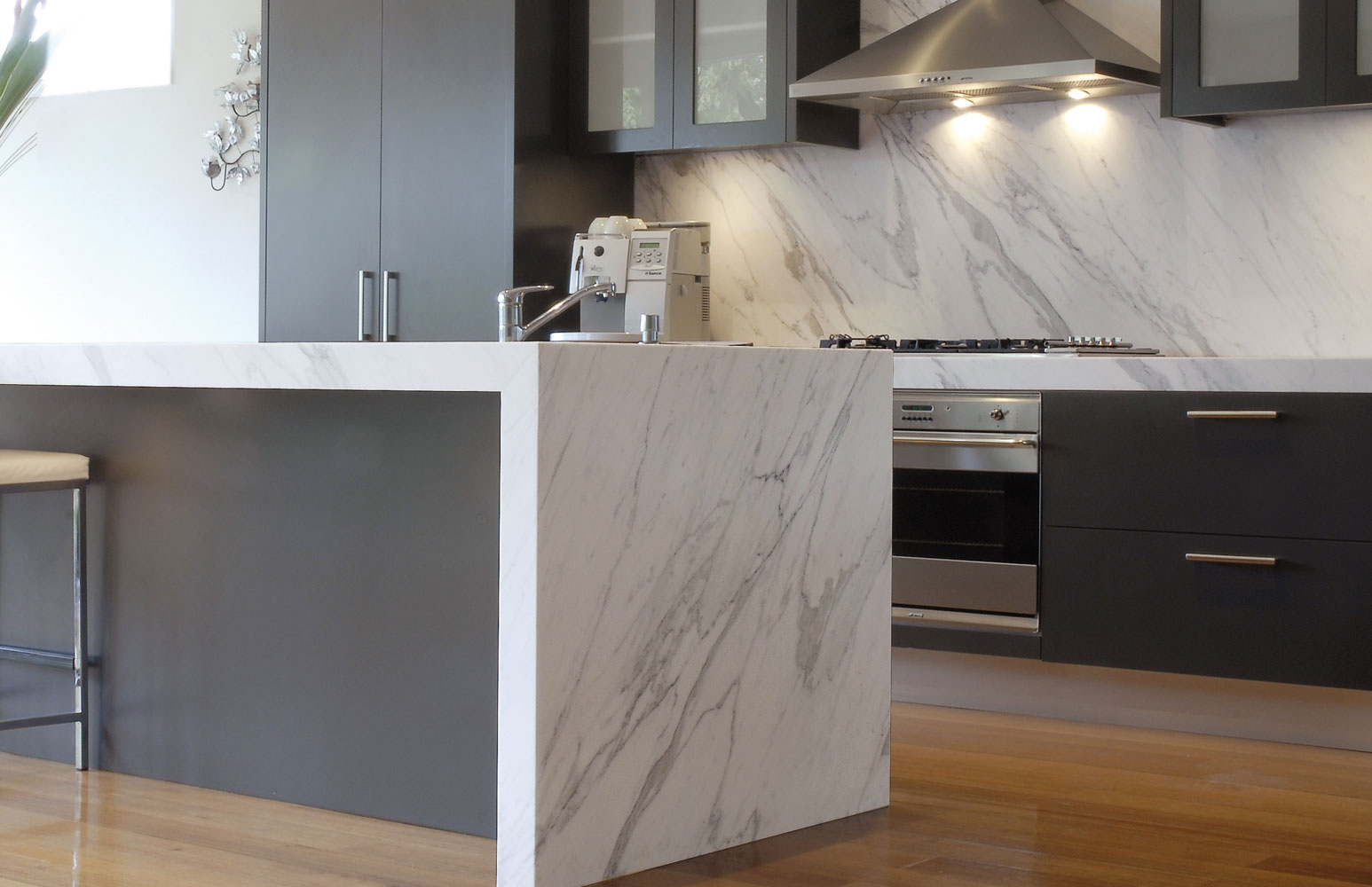 Waterfall Marble Kitchen Countertop