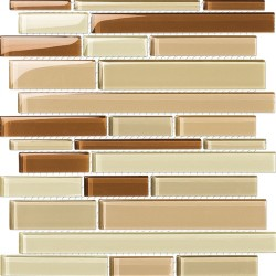 Brown Beige Ragtime Glass Mosaic