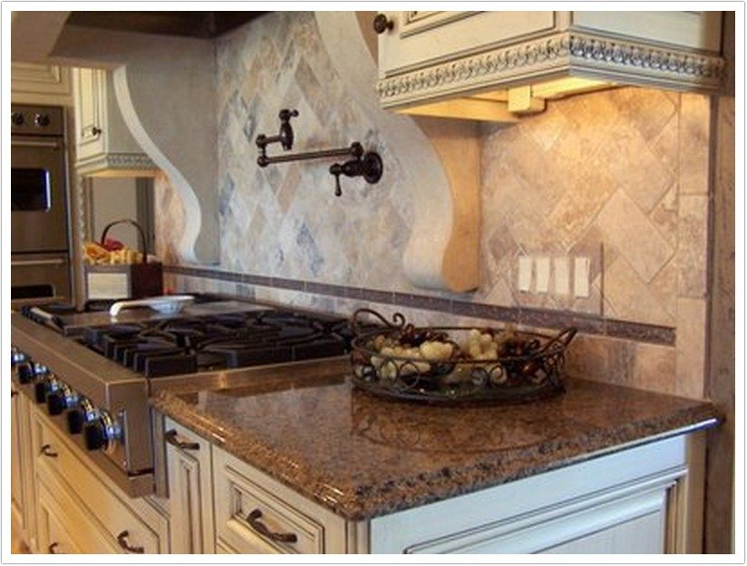 White Kitchen Counter Brown Cabinets