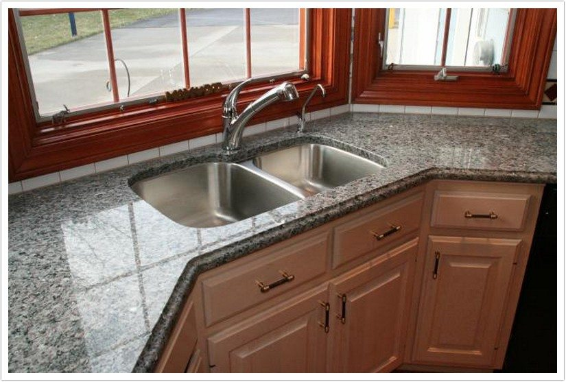 Grey Kitchen Cabinets With White Granite Countertops