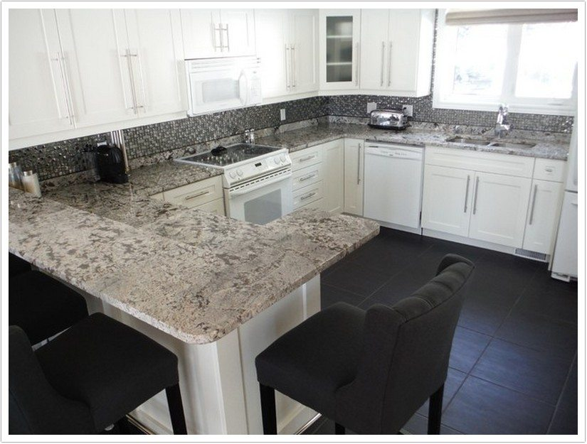 Dark Kitchen Cabinets With White Granite Countertops