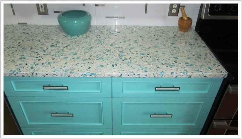 Floating Blue Vetrazzo Bath Amp Granite Denver