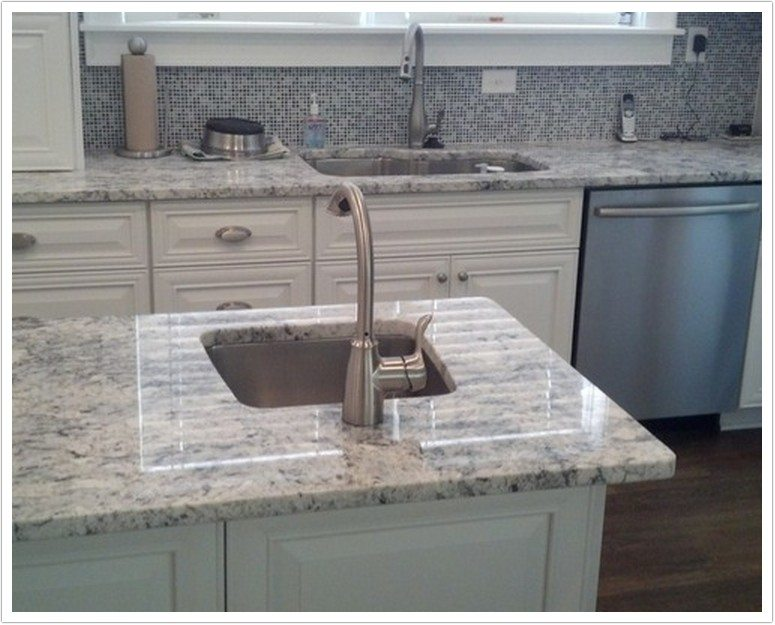 Kitchens With White Tile Floors White Cabinets And Granite Countertops