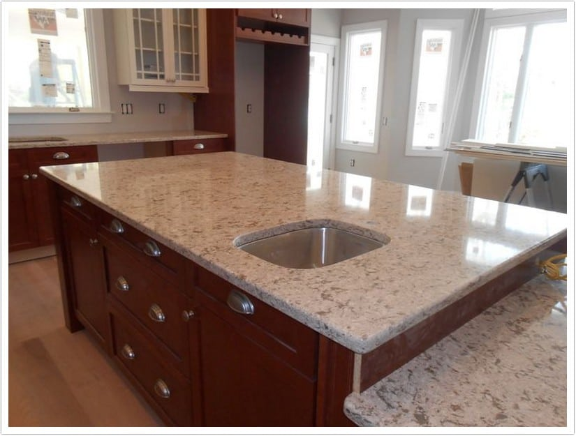 Kitchen With Brown Granite Countertops